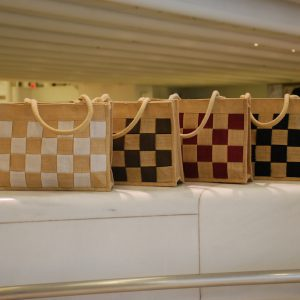 All Natural Jute Handmade Handbag Big Checkers