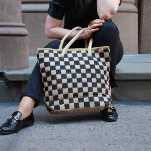 All Natural Jute Handmade Handbag Small Checkers