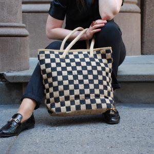 All Natural Jute Handmade Handbag Small Checkers