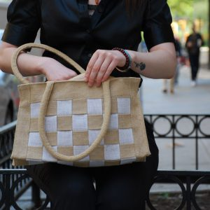 All Natural Jute Handbag. Big Check Small Bag