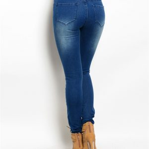 Dark Blue Distressed Denim Jeans