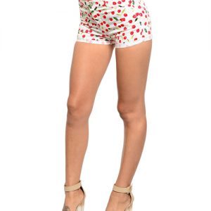 White Cherry Highwaist Shorts