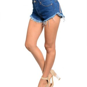 A-Line Rainbow Embroidered Denim Cut-Off Shorts