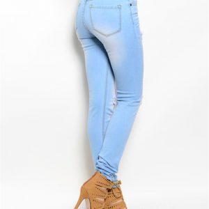 Light Blue Distressed Denim Jeans