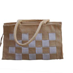 All Natural Jute Handbag. Big Check Small Bag