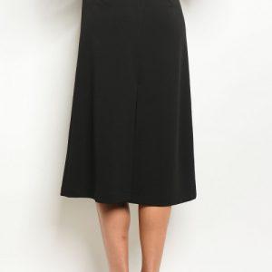 Long Black Slit Skirt