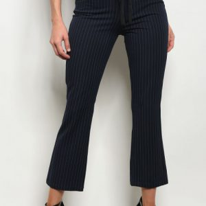 Navy Drawstring Stripe Pants