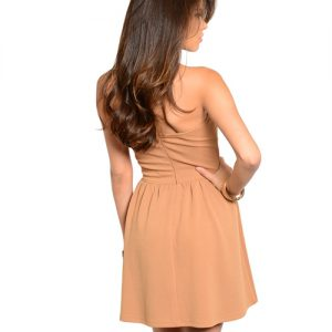 Brown Strapless Baby Doll Dress