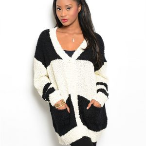 Cream and Black Stripped Cardigan