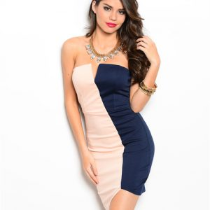 Peach and Navy Strapless Dress