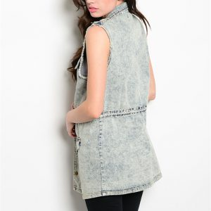 Long Denim Acid Wash Vest/Dress