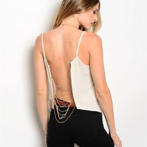 Cream Colored Beaded Chain Crop Top