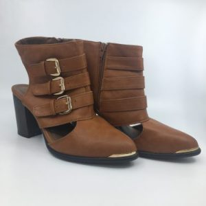 Brown Cutout Heeled Booties