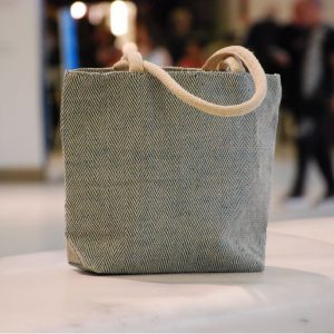 High End All Natural Jute Handbag Blue