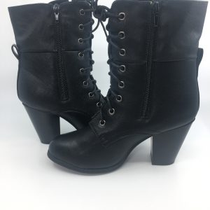 Black Laced Heeled Booties