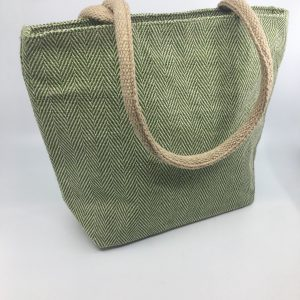 High End All Natural Jute Handbag Green