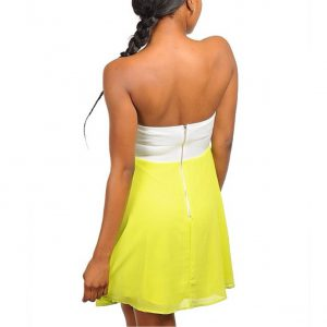 Lime and Cream Strapless Dress
