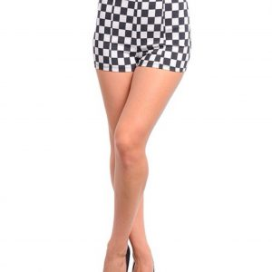 Black and White Checkered High Waist Shorts