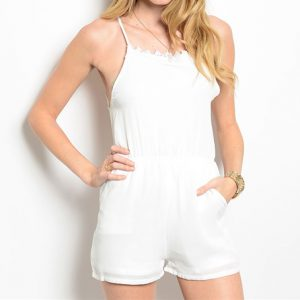 White Romper With Open Back