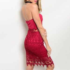 Strapless Red Wine Lace Dress