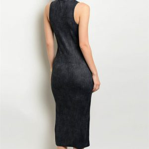 Charcoal Turtle Neck Tank Dress with Slit