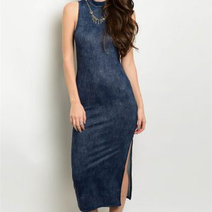 Blue Turtle Neck Tank Dress with Slit