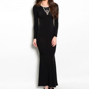 Black Long Sleeve Open Back Gown