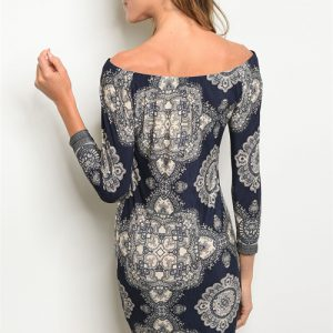 Navy and Cream Detailed Off The Shoulder Dress