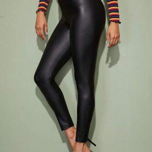 Wide Waistband Liquid Leather Black Pants
