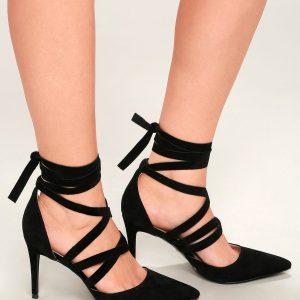 Black Strappy Suede Heels Size 6