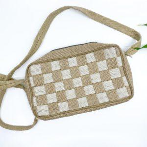 Mini Check Handmade Handbag in White