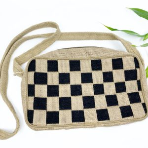 Mini Check Handmade Handbag in Black