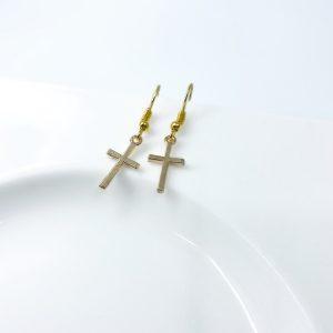 Handmade Gold Cross Dangle Earrings