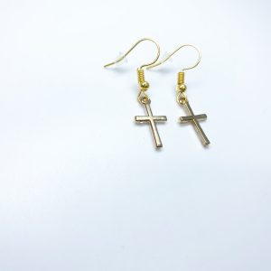 Handmade Gold Cross Dangle Earrings
