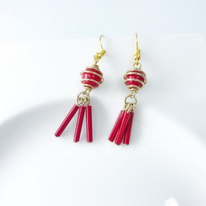 Upcycled Vintage Gold and Red Dangle Earrings