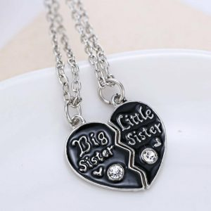 2PCS Big Sister Little Sister Crystal Heart Pendant Necklace
