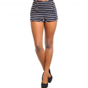 Navy and White Sailor High Waist Shorts