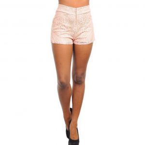Pink Lace and Nude High Waisted Shorts