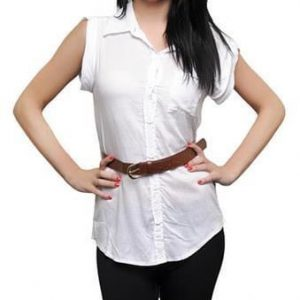 White Short Sleeve Button Up With Brown Belt