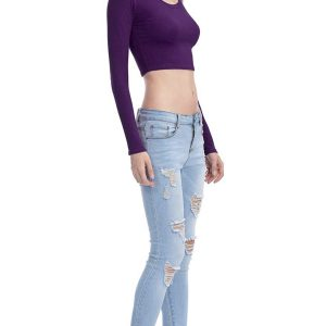 Dark Purple Scoop Neck Long Sleeve Crop Top