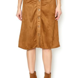 Dance & Marvel Faux Suede Button Down Skirt
