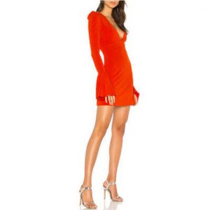 Free People Long Sleeve Blood Orange Dress