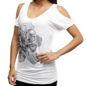 Ivory Top With Floral Design and Peekaboo Shoulders
