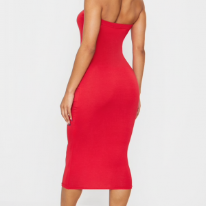 Suede Dark Red Strapless Fitting Dress