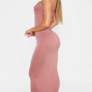 Suede Light Pink Strapless Fitting Dress