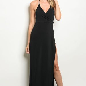 Black Gown With Leg Slit