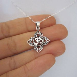 Om Lotus Pendant Necklace